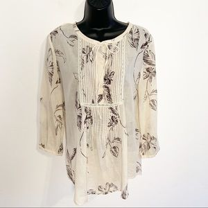 Theory Pullover Floral Blouse/Tunic